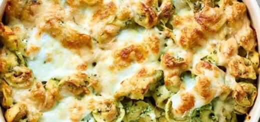 Pesto tortellini casserole